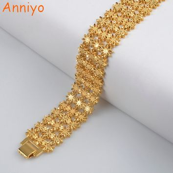 Anniyo 21cm / Width Bracelet for Women/Men Gold Color & Copper Ethiopian Jewelry African Bangle Arab Wedding Gifts #072506