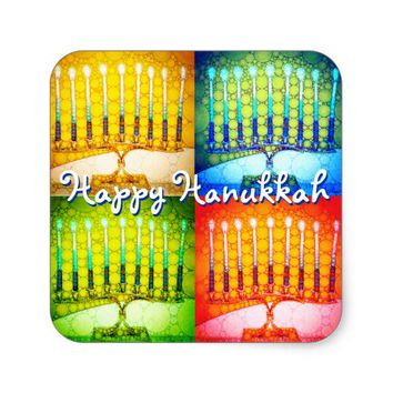 """Happy Hanukkah"" 4 colorful artsy menorahs photo Square Sticker"
