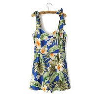 Stylish Print Cotton Spaghetti Strap Casual Romper [4919898948]