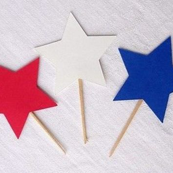 24 Red White & Blue Star Cupcake Toppers, Patriotic Party Food Picks