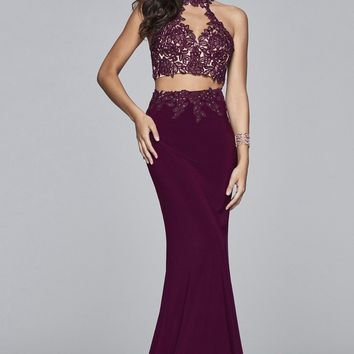 Unique Sexy Purple Mermaid Prom Dresses Halter Neck Sleeveless Two Pieces Evening Dresses Party Gowns