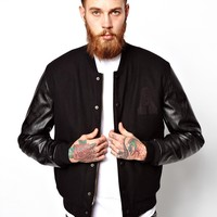 ASOS Bomber Jacket With Leather Look Sleeves - Black