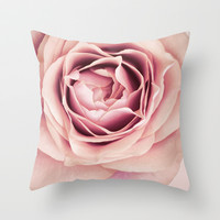 My Heart is Safe with You, My Friend - pale pink rose macro Throw Pillow by micklyn