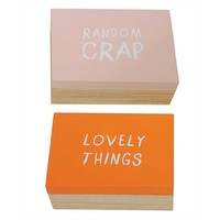 Lovely Things and Random Crap - Wooden Jewelry Trinket Storage Boxes with Phrase Set of 2 - 5-in