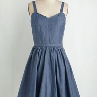Pinup Mid-length Cap Sleeves Fit & Flare New England Girl in Town Dress