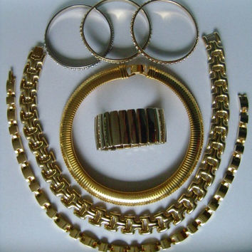 Lot 7 Piece of Vintage Jewelry Rhinestones Gold Tone Link Bold Heavy Chunky Choker Collar Necklaces and Wide Bangle/Bracelet Signed Japan
