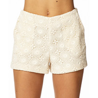 High-Waisted Macramé Shorts