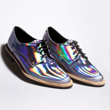 Holographic! Miista Zoe Leather Hologram Shoes in Iridescent Purple   Thrifted  Moder