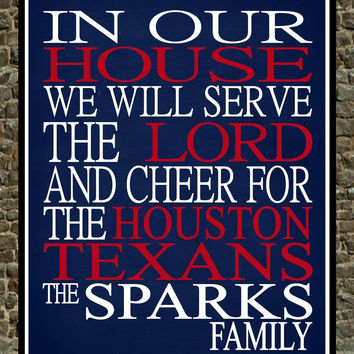 Customized Name Houston Texans football personalized family print poster Christian gift sports wall art - multiple sizes
