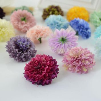 1pcs cheap Silk Carnation Heads artificial flower for home daisy Bridal bouquet wrist accessories Wedding car Decoration