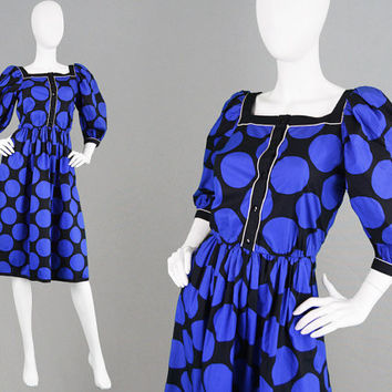 Vintage 80s LOUIS FERAUD Puff Sleeve Dress Black and Blue Large Polka Dot Dress Midi Dress Big Sleeves French Designer Cotton Evening Dress