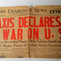 Old december 11, 1941 war newspaper, axis declares war, hitler news, original print, old world war 2 map, the charlotte news, paper ephemera
