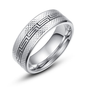 Stainless Steel Greek Key Pattern Ring