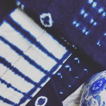 Shibori Indigo Blue & White African Vintage Mudcloth Fabric / Textile / Throw / Wall Hanging