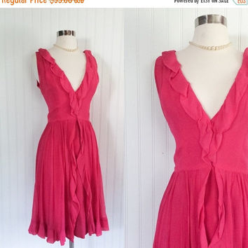 25% OFF hot pink vintage 1960s sheer chiffon plunging bust ruffle layers cocktail party dress // mod glamour // size M 36 bust