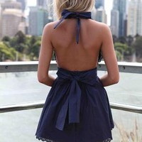 Navy Halter Dress with Open Back & Tie Bow Detail