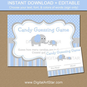 Elephant Candy Guessing Game - Elephant Guess How Many Game - Grey Blue Elephant Baby Shower Game - Printable Baby Shower Activity EDITABLE