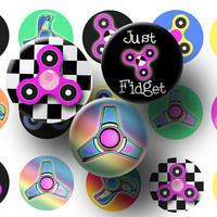 Fidget spinner bottle cap images - Spinner digital collage sheet - Spinner 1 inch circles - Cupcake toppers - Magnets - Kids party favors