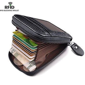 Zipper Credit Card Holder with RFID Blocking MaxGear Genuine Leather Credit Card Wallet Small Compact Wallet