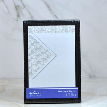 Modern New Hallmark Silver and White Stationery Sheets and Envelopes