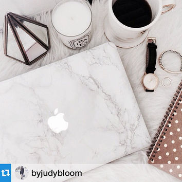 The ORIGINAL MARBLE MACBOOK Skin --- Faux Carrara Marble Skins for MacBook Laptops