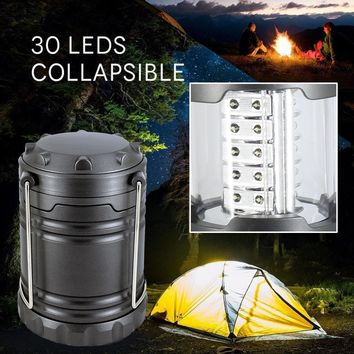 Portable 30LED Camping Lantern Bright and Lightweight Flashlights Light Lamp For Hiking Camping Emergencies Hurricanes Gray