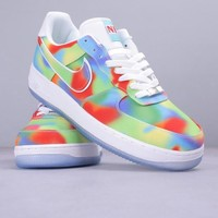 Nike AIR FORCE 1 LOW AF1 black rainbow tie-dye color basketball shoes