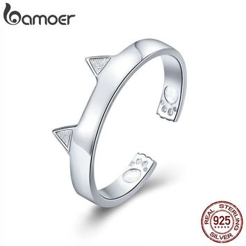 BAMOER Fashion 925 Sterling Silver Cute Cat Ears Animal Ears Shape Adjustable Finger Rings Party Wedding Jewelry Making SCR387-2