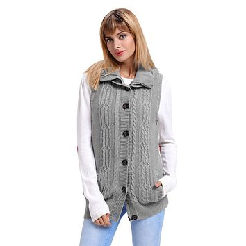 Grey Cable Knit Hooded Sweater Vest