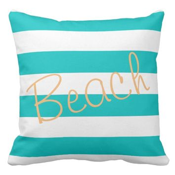 "Aqua Wide Cabana Stripe Pillow ""Beach"" In Gold"