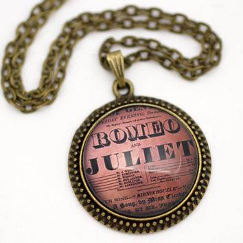 Romeo and Juliet, Shakespeare Playbill, Vintage Style Necklace