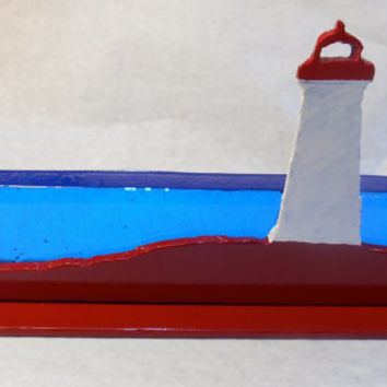 Lighthouse Sun catcher, Glass and Metal Lighthouse, Window Sill Art, Desktop Decor, Kitchen Decor