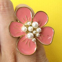 SALE - Adjustable Floral Ring in Pink with Pearl Detail