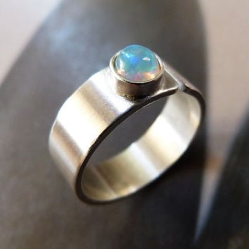 Opal ring, light blue stone silver ring, handcrafted ring, metalwork statement ring, OOAK jewelry, minimalist, modern, gift for wife