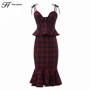 H Han Queen Women's Sets Ruffles Red Plaid Crop Tops And Skirt Set Sexy Tracksuit Plus Size Tracksuits New Work Bow Skirt Suit