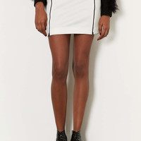 WHITE DOUBLE ZIP MINI SKIRT