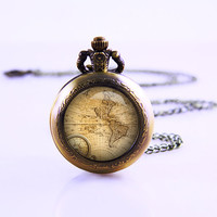 Viintege world map Pocket Watch,Bronze pocket watch,pocket watch necklace