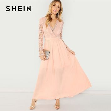SHEIN Pink Party Elegant Fit and Flare V Neck Contrast Lace Backless Dress 2018 Women Long Sleeve Autumn A Line Maxi Dresses