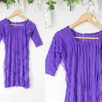Vintage Purple Frilly Mini Dress