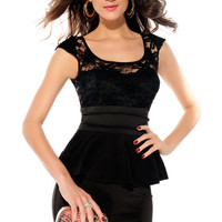 Short Sleeves Hollow Out Black Peplum Dress with Sunflower Lace Bodice