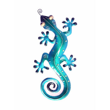 D Art Collection Iron Blue Gecko WallDecor Medium