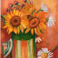 Sunflowers  Original Watercolor Painting, Flower Painting, Small Floral Wall Art