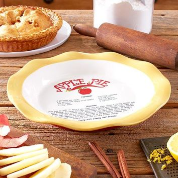 Country Style Recipe Pie Plate. Apple Recipe Included. Gifted w/A Bow