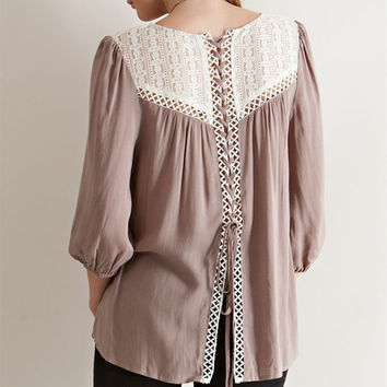 Lace Up Baby Doll Blouse - Mocha