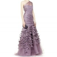 one shoulder purple floor length evening dress