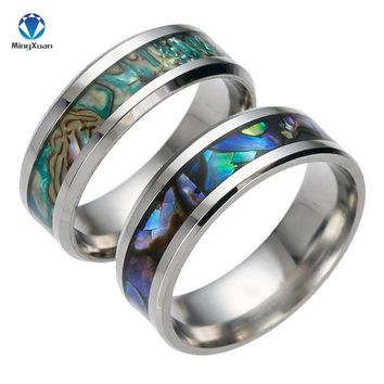 2018 New Vintage Colorful shell Free Shipping  stainless steel Ring Mens Jewelry for Men lord Wedding Band male ring for lovers