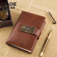 CAGIE Vintage a7 Notebook Brown/Red Leather Mini Pocket Diary With Lock Office Organizer Agenda Daily Planner Filofax