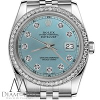 Ice Blue Rolex 31mm Datejust Stainless Steel Diamond Accent Dial RT Watch