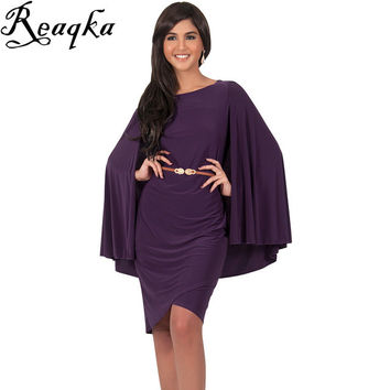 Europe Women Two Piece Cloak dress Outfits 2016 Sexy Black Loose 2 Piece Set Dress Club Batwing Sleeve Bodycon Party Dresses XXL