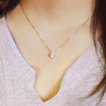 ESBONG Shiny Jewelry Gift New Arrival Stylish Silver 925 Diamonds Korean Simple Design Necklace [10444667476]